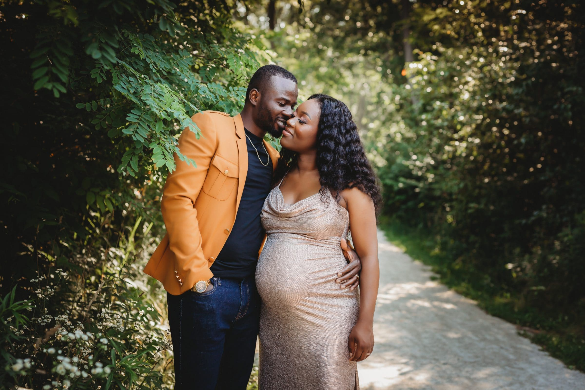 maternity session downers grove hinsdale rose gold dress